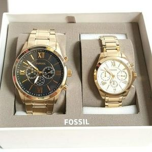 Fossil Flynn Couple Gift Watch Set Gold Stainless